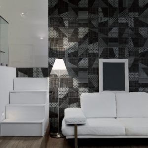 moderno soggiorno con divano di pelle bianca