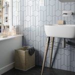 chevron bathroom wall tile with hex-150x150 - Pavé Tile Co