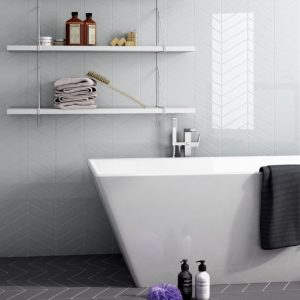 chevron bathroom wall tile withgrey floor