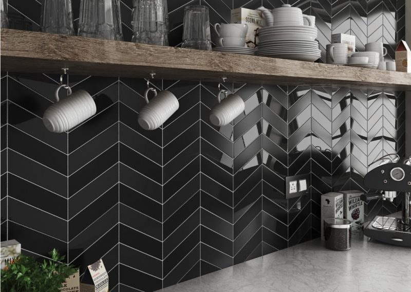 chevron black gloos and matt - Pavé Tile Co