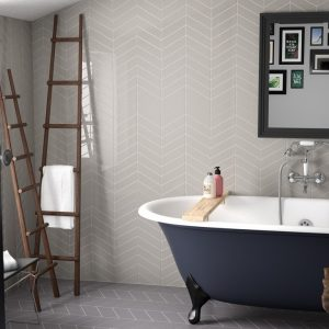 chevron mixed grey bathroom