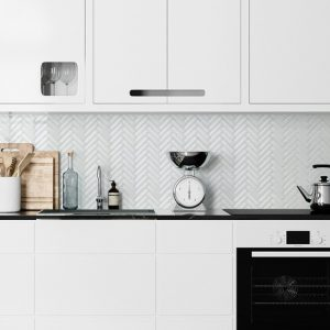 white gloss herringbone kitchen small