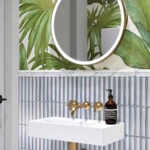 light grey bathroom wall
